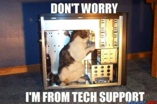 cat in computer saying don't worry I'm from tech support